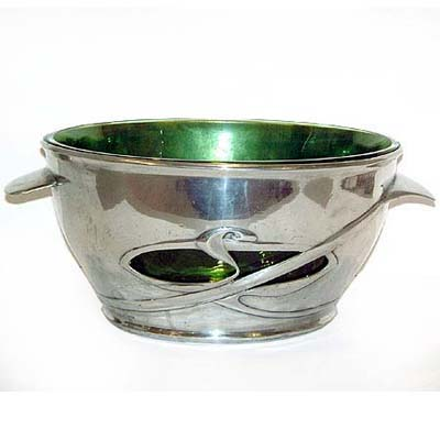 Large Tudric pewter and Powell glass Arts & Crafts bowl by Archibald Knox for Liberty & Co