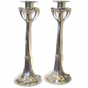 Large pair of Art Nouveau candlesticks by hugo Leven for Kayserzinn