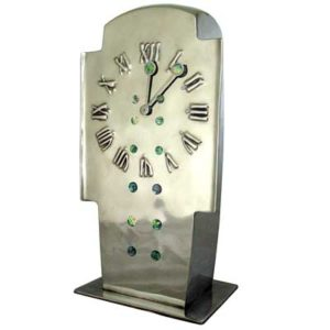 Liberty & Co Tudric pewter and abalone shell clock designed by Archibald Knox, England c1902 (gm203)