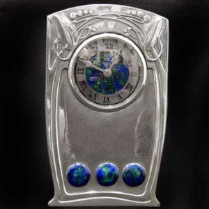 Liberty & Co Tudric pewter and enamel clock by Archibald Knox
