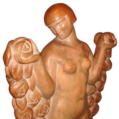 Massive Art Deco terra cotta figure of a naked beauty by F Trinque (gm417)
