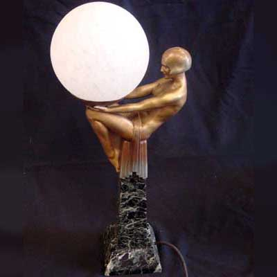 Max le Verrier figural Art Deco lamp (gm014)