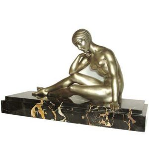 Meditations   Art Deco bronze figure by Morante