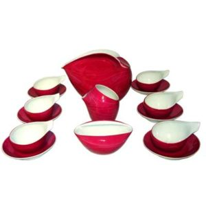 Modernist porcelain tea set designed by Lubomir Tomaszewski for Cmielow (x098)
