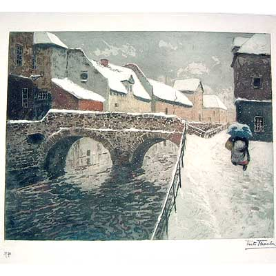 Original pencil signed lithograph by Fritz Thaulow