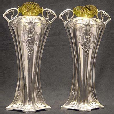 Pair Art Nouveau pewter and glass vases by WMF