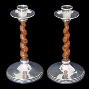 Pair of A E Jones Arts & Crafts silver and oak barley twist candlesticks (gs047)