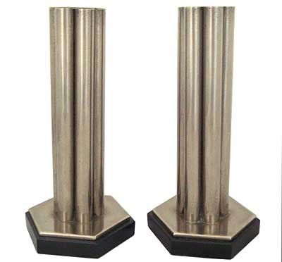 Pair of Art Deco Modernist nickel plated brass and belgium marble vases in the style of Desny