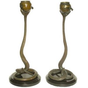 Pair of Art Deco bronze snake candlesticks attributed to Franz Bergmann