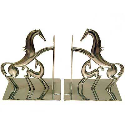 Pair of Art Deco chrome bookends by Hagenauer