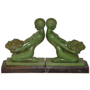 Pair of Art Deco figural spelter bookends by Max le Verrier (gm448)