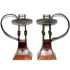 Pair of Art Nouveau brass and copper candlesticks by Carl Deffner