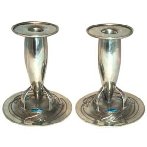 Pair of Arts & Crafts Liberty & Co Tudric pewter and enamel candlesticks by Archibald Knox (M518B)