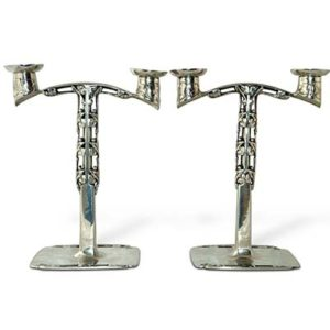 Pair of Arts & Crafts Tudric pewter candelabra by Archibald Knox for Liberty & Co (gm564)