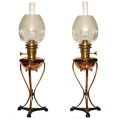 Pair of Arts & Crafts brass and copper oil lamps by W A S  Benson