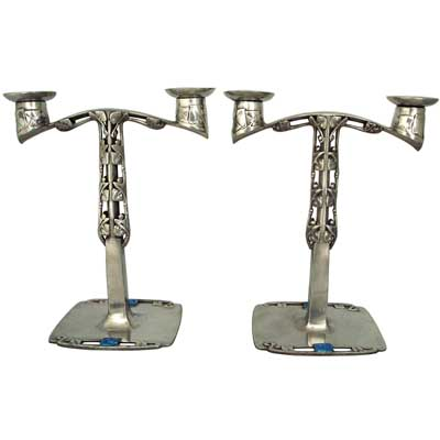 Pair of Liberty & CoTudric pewter and enamel Arts & Crafts candelabra by Archibald Knox (m395)