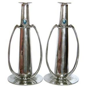 Pair of Tall Arts & Crafts Liberty & Co Tudric pewter vases