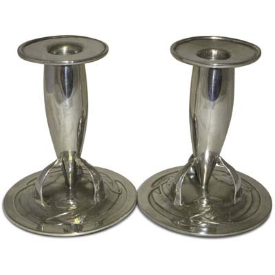 Pair of Tudric pewter candlesticks by Archibald Knox for Liberty & Co (gm567)