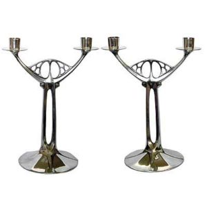 Pair of WMF Art Nouveau pewter candlesticks