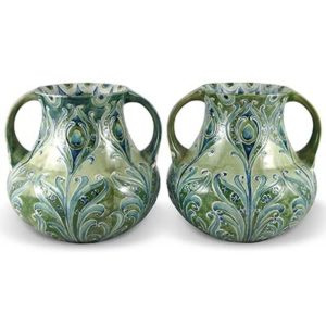 Pair of William Moorcroft Florian pottery vases for Macintyre (gm918)