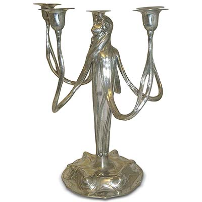 Pair of large Art Nouveau figural pewter and glass candelabra by Orivit (gm802)
