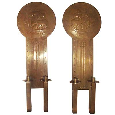 Pair of large Arts & Crafts brass wall sconces (gm060)