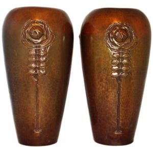 Pair of large Glasgow School Arts & Crafts hand beaten brass vases (gm345)