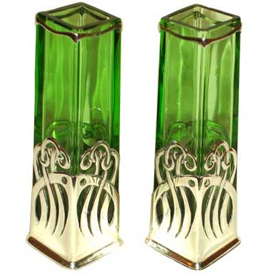 Pair of silver and glass vases by G A  Scheid attributed to Koloman Moser