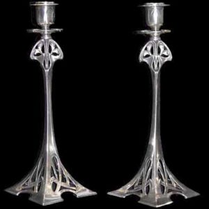 Pair of tall WMF Art Nouveau pewter candlesticks