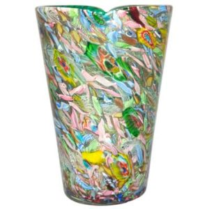 Scrambled millefiori large glass vase attributed to AVEM, Italy c1955 (gm243)