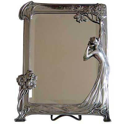 The Echo   Art Nouveau figural pewter mirror by WMF