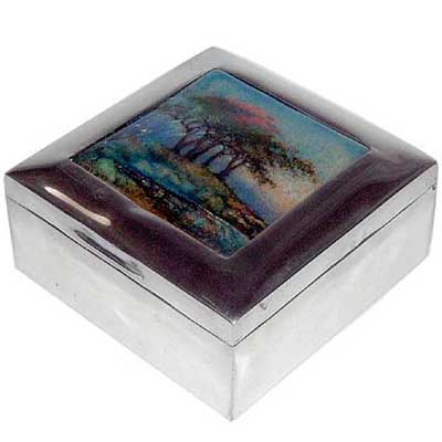 Tudric pewter and enamel box by Varley for liberty & Co