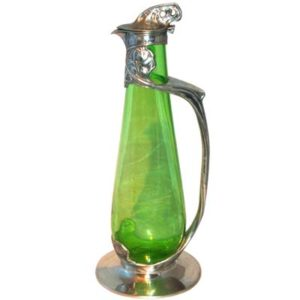 Tudric pewter and glass Arts & Crafts decanter by David Veazey for Liberty & Co (gm326a)
