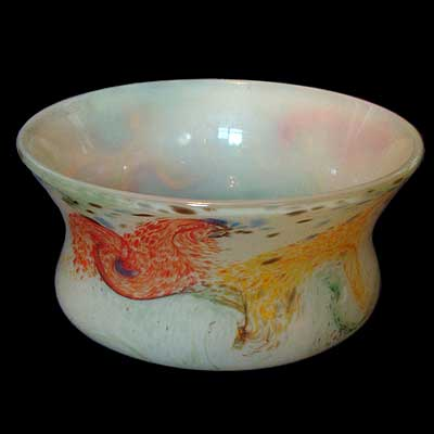 Unusual and rare Monart surface decorated bowl (gm189)
