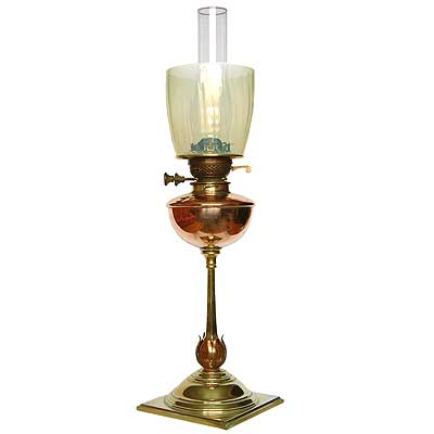 W A S  Benson Arts & Crafts oil lamp