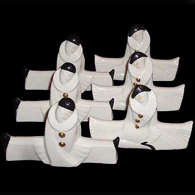 Set of 6 Art Deco Sevres porcelain knife rests (c97)