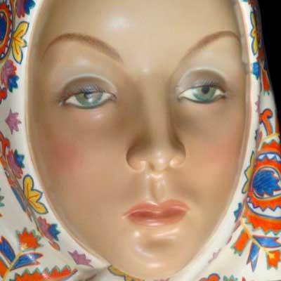 Ceramic Wall Art Art Deco Ceramic Mask by Helen