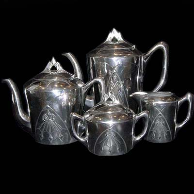 Art Nouveau Darmstadt pewter tea set for Gerhardi & Co (m30b)