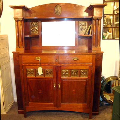 Art Nouveau Jugendstil inlaid mahogany sideboard with hand beaten brass panels (f122)