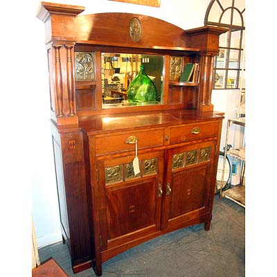 Art Nouveau Jugendstil Inlaid Mahogany Sideboard With Hand Beaten