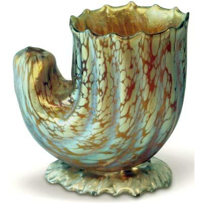 Art Nouveau Loetz Papillon Yellow Cornucopia Vase Gm435 Morgan