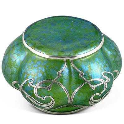 Art Nouveau Loetz Green Papillon Glass Vase With Silver Overlay