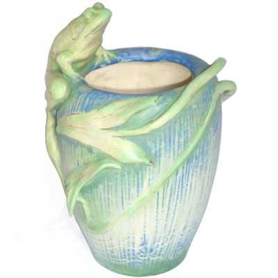 Art Nouveau Rsk Amphora Teplitz Frog Vase Gm207 Morgan
