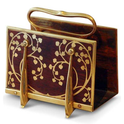 Art Nouveau brass and rosewood letter rack by Erhard and Sohne (gm450)