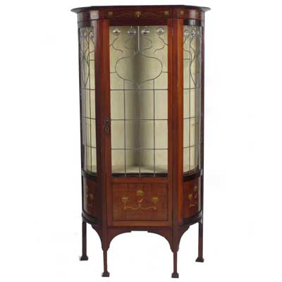 Art Nouveau inlaid mahogany and leaded glass cabinet attributed to J S Henry (gm171)