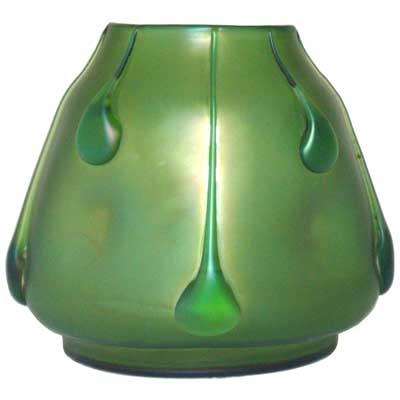 Art Nouveau Iridescent Loetz Glass Vase With Applied Teardrops