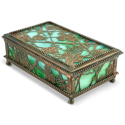 Arts crafts tiffany studios glass and bronze box in the for Glass boxes for crafts