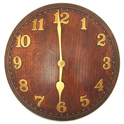 Arts crafts oak and brass wall clock for heals mi217 for Arts and crafts style wall clock