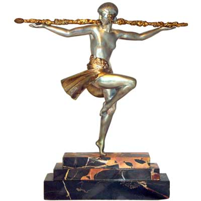 Dancer with Thyrsus, Art Deco bronze figure by Pierre le Faguays (gm310)