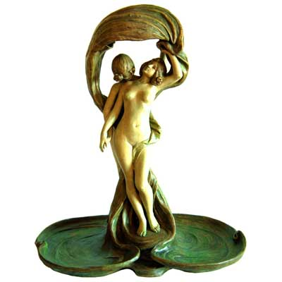 Large figural Art Nouveau lady lamp by Ernst Wahlis (c19)